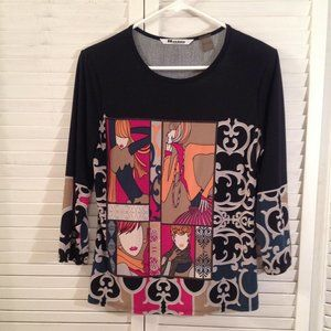 Nygard Collection S Black Graphic T-Shirt Knit Top